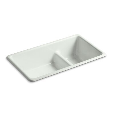 Iron/Tones 33 x 18-3/4 x 9-5/8 Top-Mount/Under-Mount Smart Divide Large/Medium Double-Bowl Kitchen Sink Finish: Sea Salt
