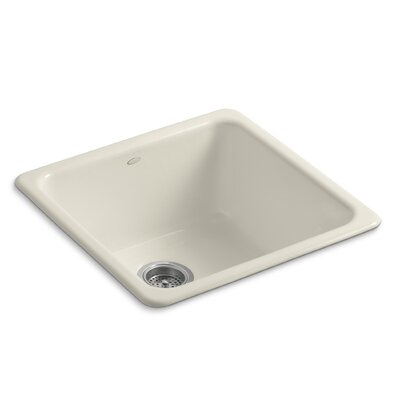 Iron Tones 20-7/8 x 20-7/8 x 10 Top-Mount/Under-Mount Single-Bowl Kitchen Sink Finish: Almond