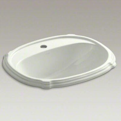 Portrait� Ceramic Oval Drop-In Bathroom Sink with Overflow Finish: Dune, Faucet Hole Style: 4 Centerset