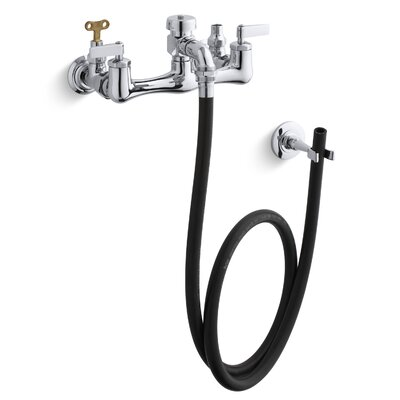 Double Lever Handle Service Sink Faucet with Loose-Key Stops, Rubber Hose, Wall Hook and Lever Handles
