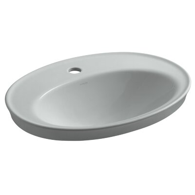 Serif Ceramic Oval Drop-In Bathroom Sink with Overflow Finish: Ice Grey, Faucet Hole Style: Single