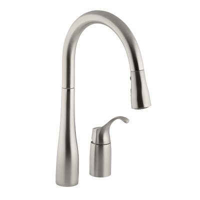 Simplice Two-Hole Kitchen Sink Faucet with 16-1/8 Pull-Down Swing Spout, Docknetik Magnetic Docking System, and A 3-Function Sprayhead Featuring The New Sweep Spray Finish: Vibrant Stainless