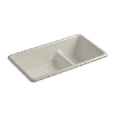 Iron Tones 33 x 18-3/4 x 9-5/8 Top-Mount/Under-Mount Smart Divide Large/Medium Double-Bowl Kitchen Sink Finish: Sandbar