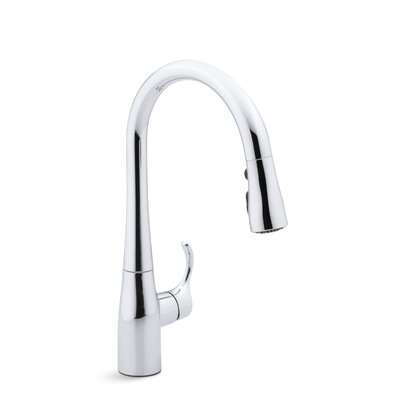 Simplice Single-Hole Kitchen Sink Faucet with 15-3/8 Pull-Down Spout, Docknetik Magnetic Docking System, and A 3-Function Sprayhead Featuring The New Sweep Spray Finish: Polished Chrome