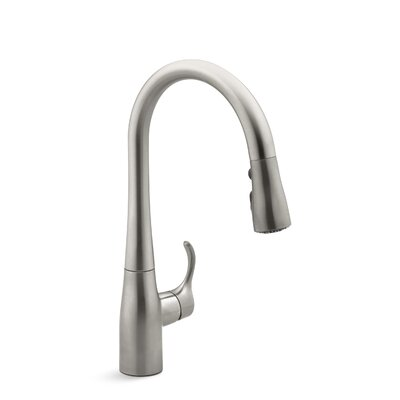 Simplice Single-Hole Kitchen Sink Faucet with 15-3/8 Pull-Down Spout, Docknetik Magnetic Docking System, and A 3-Function Sprayhead Featuring The New Sweep Spray Finish: Vibrant Stainless