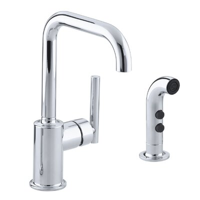 Purist Two-Hole Kitchen Sink Faucet with 6 Spout and Matching Finish Sidespray Finish: Polished Chrome
