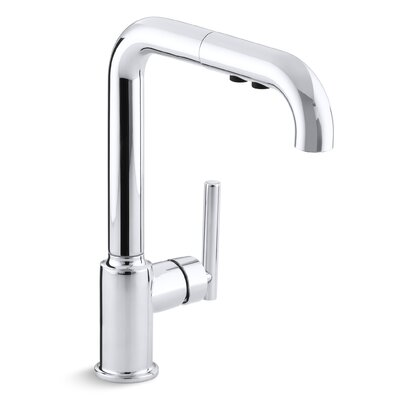 Purist Single-Hole Kitchen Sink Faucet with 8 Pullout Spout Finish: Polished Chrome