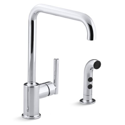 Purist Two-Hole Kitchen Sink Faucet with 8 Spout and Matching Finish Sidespray Finish: Polished Chrome