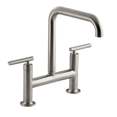 Purist Two-Hole Deck-Mount Bridge Kitchen Sink Faucet Finish: Vibrant Stainless