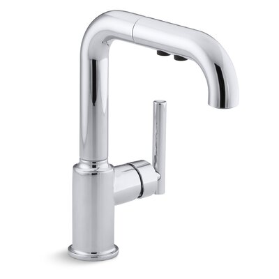 Purist Single-Hole Kitchen Sink Faucet with 7 Pullout Spout Finish: Polished Chrome