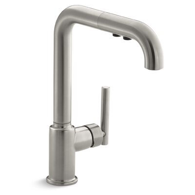 Purist Single-Hole Kitchen Sink Faucet with 8 Pullout Spout Finish: Vibrant Stainless