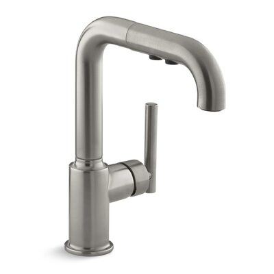"Purist Single-Hole Kitchen Sink Faucet with 7"" Pullout Spout Finish: Vibrant Stainless K-7506-VS"