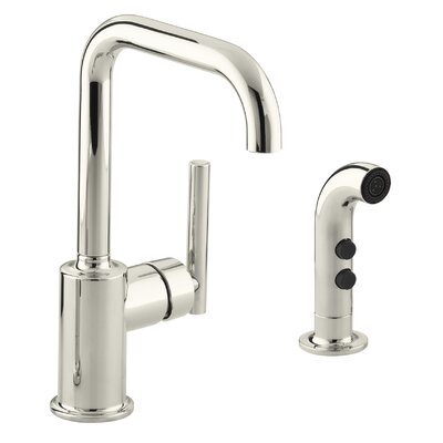 Purist Two-Hole Kitchen Sink Faucet with 6 Spout and Matching Finish Sidespray Finish: Vibrant Polished Nickel