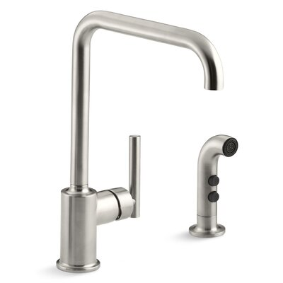 Purist Two-Hole Kitchen Sink Faucet with 8 Spout and Matching Finish Sidespray Finish: Vibrant Stainless