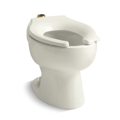Wellcomme 1.6 GPF Flushometer Valve Elongated Toilet Bowl with Top Inlet, Requires Seat Finish: Biscuit