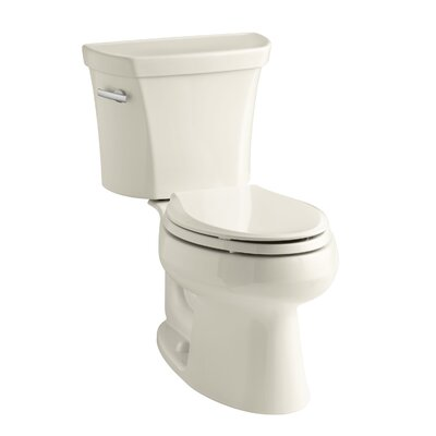 Wellworth Two-Piece Elongated 1.28 GPF Toilet with Class Five Flush Technology, Left-Hand Trip Lever and Tank Cover Locks Finish: Almond