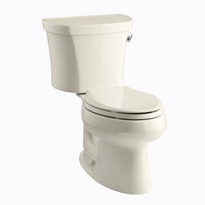 Wellworth Two-Piece Elongated 1.28 GPF Toilet with Class Five Flush Technology, Right-Hand Trip Lever, Insuliner Tank Liner and Tank Cover Locks Finish: Almond