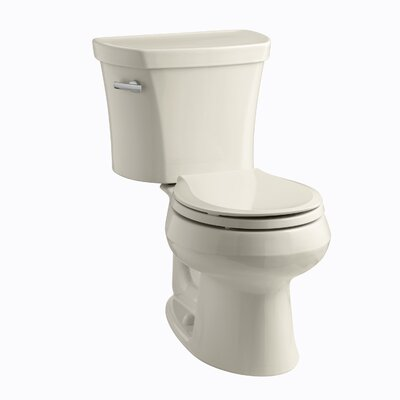 Wellworth Two-Piece Elongated 1.28 GPF Toilet with Class Five Flush Technology, Left-Hand Trip Lever, Insuliner Tank Liner and Tank Cover Locks Finish: Almond