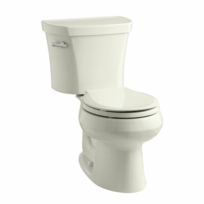 Wellworth Two-Piece Elongated 1.28 GPF Toilet with Class Five Flush Technology, Left-Hand Trip Lever, Insuliner Tank Liner and Tank Cover Locks Finish: Biscuit