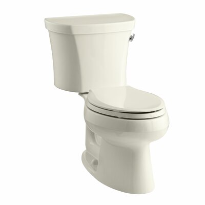 Wellworth Two-Piece Elongated 1.28 GPF Toilet with Class Five Flush Technology, Right-Hand Trip Lever and Tank Cover Locks Finish: Almond