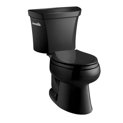 Wellworth Two-Piece Elongated 1.28 GPF Toilet with Class Five Flush Technology, Left-Hand Trip Lever and Insuliner Tank Liner Finish: Black Black
