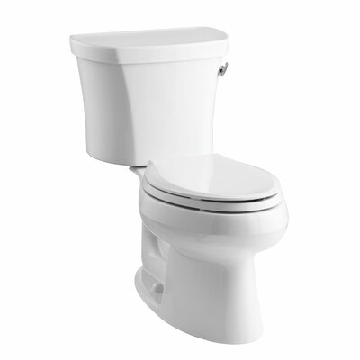 Wellworth Two-Piece Elongated 1.28 GPF Toilet with Class Five Flush Technology, Right-Hand Trip Lever, Insuliner Tank Liner and Tank Cover Locks Finish: White