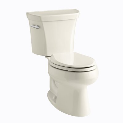 Wellworth Two-Piece Elongated 1.28 GPF Toilet with Class Five Flush Technology and Left-Hand Trip Lever Finish: Almond