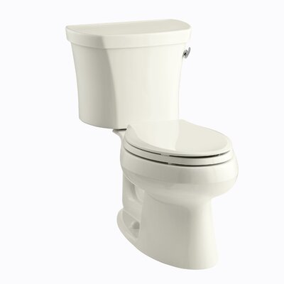 Wellworth Two-Piece Elongated 1.28 GPF Toilet with Class Five Flush Technology, Right-Hand Trip Lever, Insuliner Tank Liner and Tank Cover Locks Finish: Biscuit