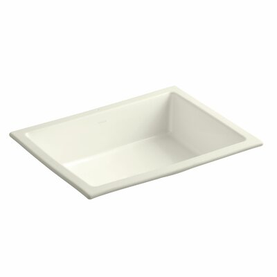 Verticyl Impressions Ceramic Rectangular Undermount Bathroom Sink with Overflow Sink Finish: Biscuit