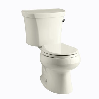 Wellworth Two-Piece Round-Front 1.28 GPF Toilet with Class Five Flush Technology, Right-Hand Trip Lever and Tank Cover Locks Finish: Biscuit