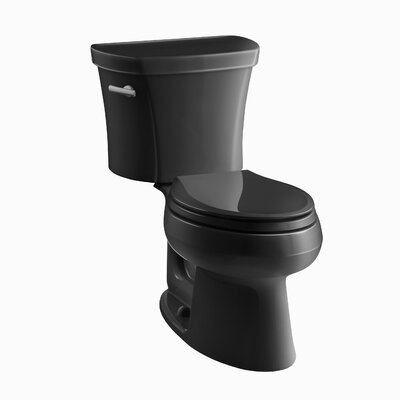 Wellworth Two-Piece Elongated 1.28 GPF Toilet with Class Five Flush Technology, Left-Hand Trip Lever and Tank Cover Locks Finish: Black Black