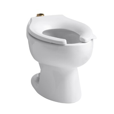 Wellcomme 1.6 GPF Flushometer Valve Elongated Toilet Bowl with Top Inlet, Requires Seat Finish: White