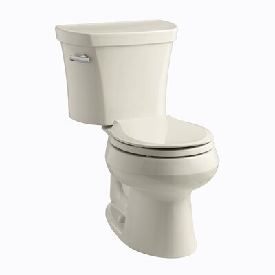 Wellworth Two-Piece Elongated 1.28 GPF Toilet with Class Five Flush Technology, Left-Hand Trip Lever and Insuliner Tank Liner Finish: Almond