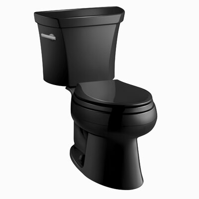 Wellworth Two-Piece Elongated 1.28 GPF Toilet with Class Five Flush Technology and Left-Hand Trip Lever Finish: Black Black