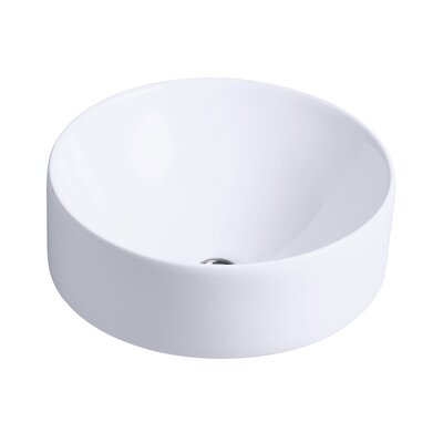Vox Ceramic Circular Vessel Bathroom Sink with Overflow Finish: White
