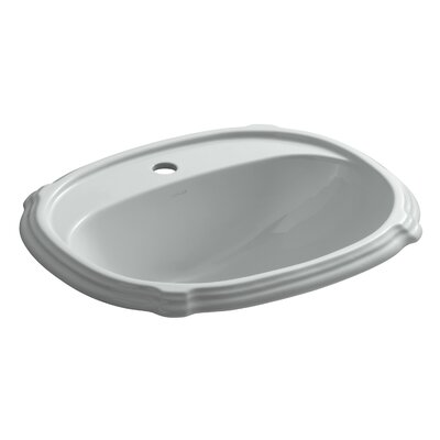 Portrait� Ceramic Oval Drop-In Bathroom Sink with Overflow Finish: Ice Grey, Faucet Hole Style: Single