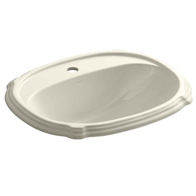 Portrait� Ceramic Oval Drop-In Bathroom Sink with Overflow Finish: Almond, Faucet Hole Style: 4 Centerset