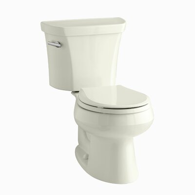 Wellworth Two-Piece Round-Front 1.28 GPF Toilet with Class Five Flush Technology and Left-Hand Trip Lever Finish: Biscuit