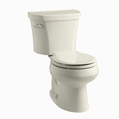 Wellworth Two-Piece Round-Front 1.28 GPF Toilet with Class Five Flush Technology and Left-Hand Trip Lever Finish: Almond