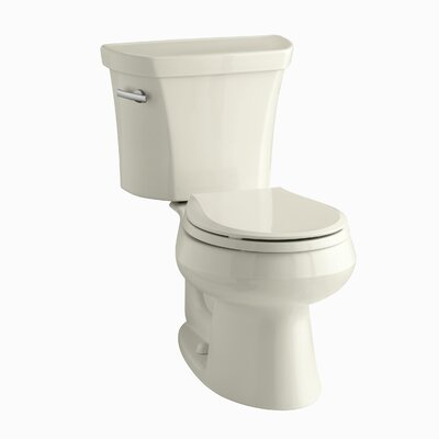 Wellworth Two-Piece Round-Front 1.28 GPF Toilet with Class Five Flush Technology, Left-Hand Trip Lever and Tank Cover Locks Finish: Almond