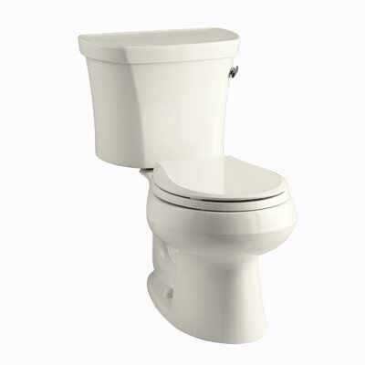 Wellworth Two-Piece Round-Front 1.28 GPF Toilet with Class Five Flush Technology, Right-Hand Trip Lever, Insuliner Tank Liner and Tank Cover Locks Finish: Biscuit