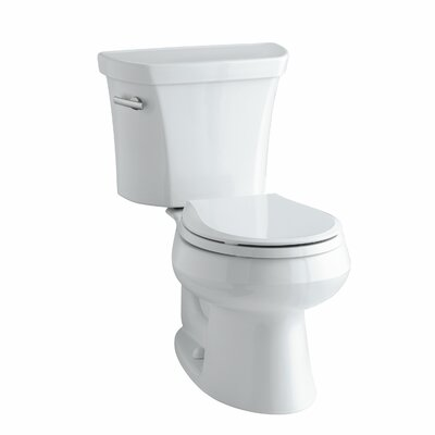 Wellworth Two-Piece Round-Front 1.28 GPF Toilet with Class Five Flush Technology, Left-Hand Trip Lever and Tank Cover Locks Finish: White