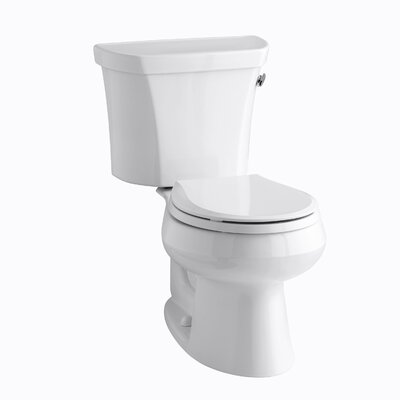 Wellworth Two-Piece Round-Front 1.28 GPF Toilet with Class Five Flush Technology, Right-Hand Trip Lever, Insuliner Tank Liner and Tank Cover Locks Finish: White