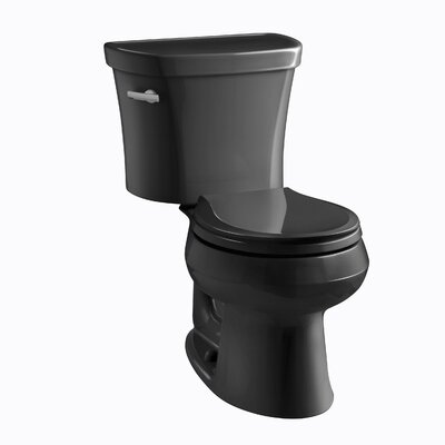 Wellworth Two-Piece Round-Front 1.28 GPF Toilet with Class Five Flush Technology and Left-Hand Trip Lever Finish: Black Black
