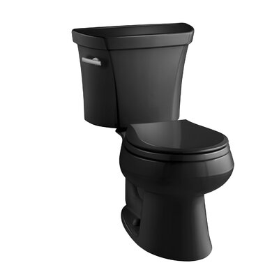 Wellworth Two-Piece Round-Front 1.28 GPF Toilet with Class Five Flush Technology, Left-Hand Trip Lever and Tank Cover Locks Finish: Black Black
