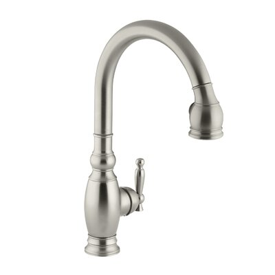 Vinnata Single-Hole or Three-Hole Kitchen Sink Faucet with Pull-Down 16-5/8 Spout and Lever Handle Finish: Vibrant Brushed Nickel