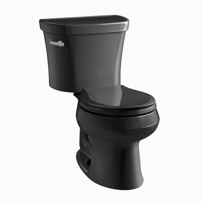 Wellworth Two-Piece Round-Front 1.28 GPF Toilet with Class Five Flush Technology, Left-Hand Trip Lever and Insuliner Tank Liner Finish: Black Black