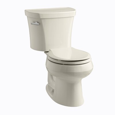 Wellworth Two-Piece Round-Front 1.28 GPF Toilet with Class Five Flush Technology, Left-Hand Trip Lever and Insuliner Tank Liner Finish: Almond