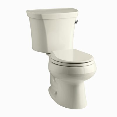 Wellworth Two-Piece Round-Front 1.28 GPF Toilet with Class Five Flush Technology, Right-Hand Trip Lever and Insuliner Tank Liner Finish: Almond
