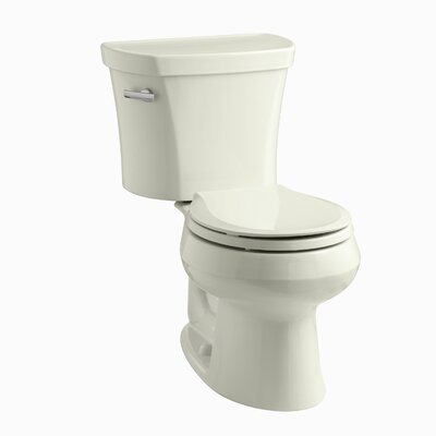 Wellworth Two-Piece Round-Front 1.28 GPF Toilet with Class Five Flush Technology, Left-Hand Trip Lever, Insuliner Tank Liner and Tank Cover Locks Finish: Biscuit